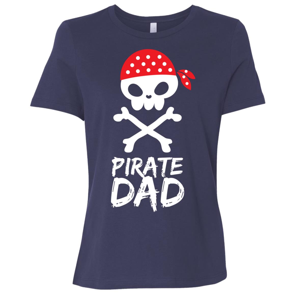 Pirate Dad Skull With Red Bandanna Funny Cartoon Dad Gift Women Short Sleeve T-Shirt