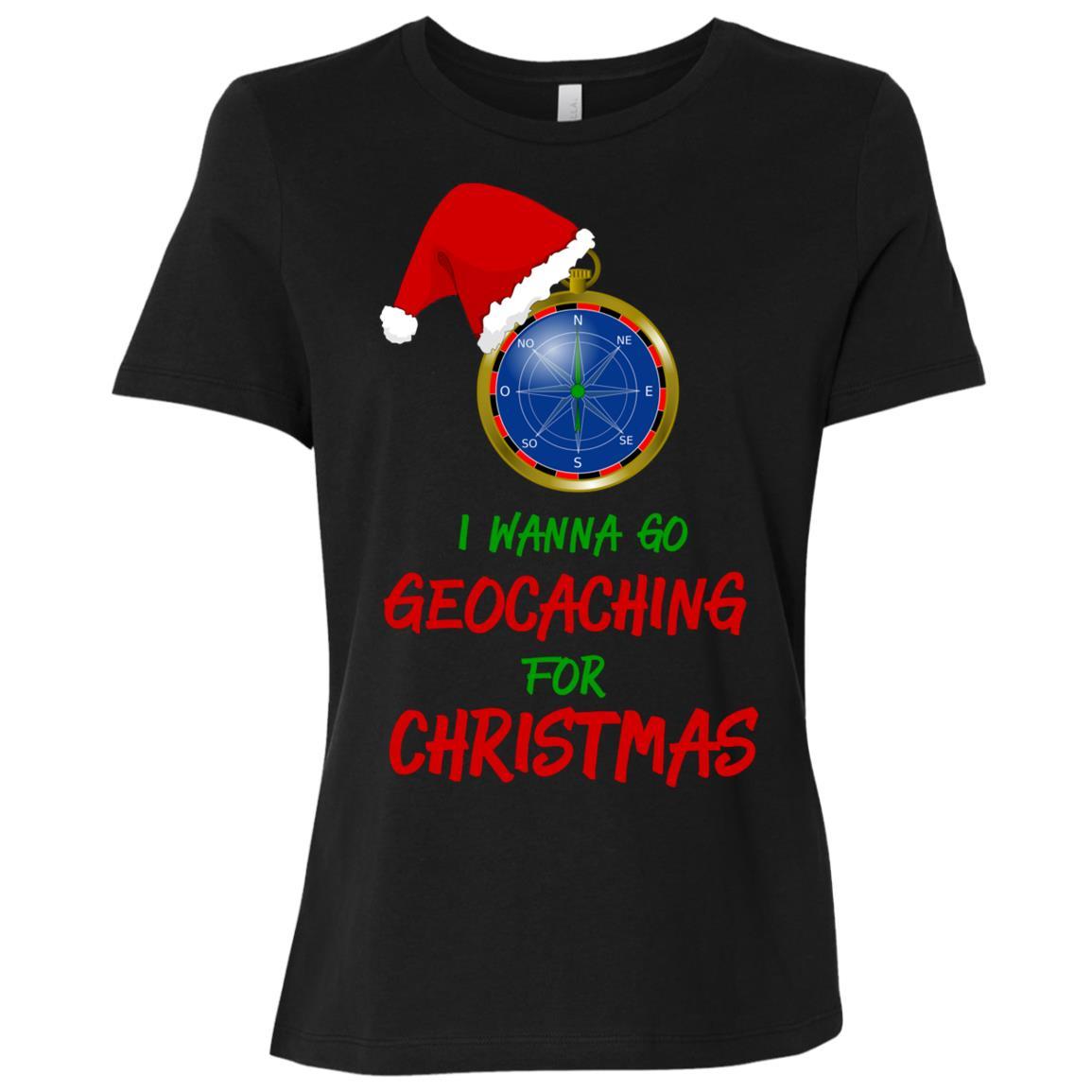 I Wanna Go Geocaching For Christmas Treasure Hunt Fun-1 Women Short Sleeve T-Shirt