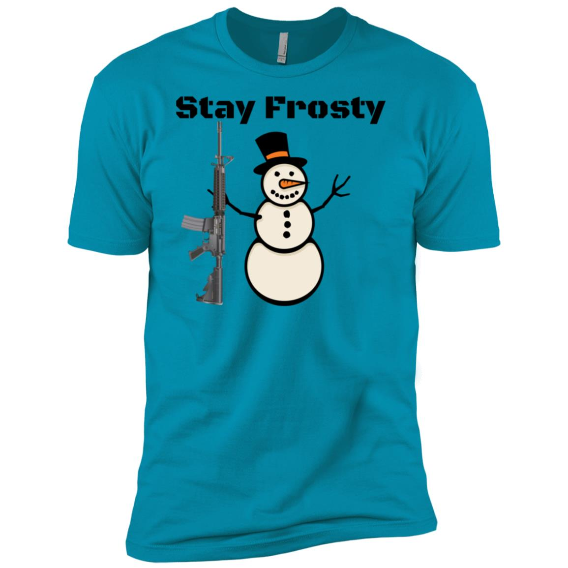 Stay Frosty And Alert Hunting Semi-Automatic Ar-15 Snowman Men Short Sleeve T-Shirt