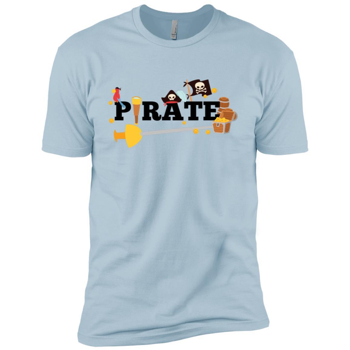 Pirate Themed Words Treasure Chest, Funny Cartoon Men Short Sleeve T-Shirt