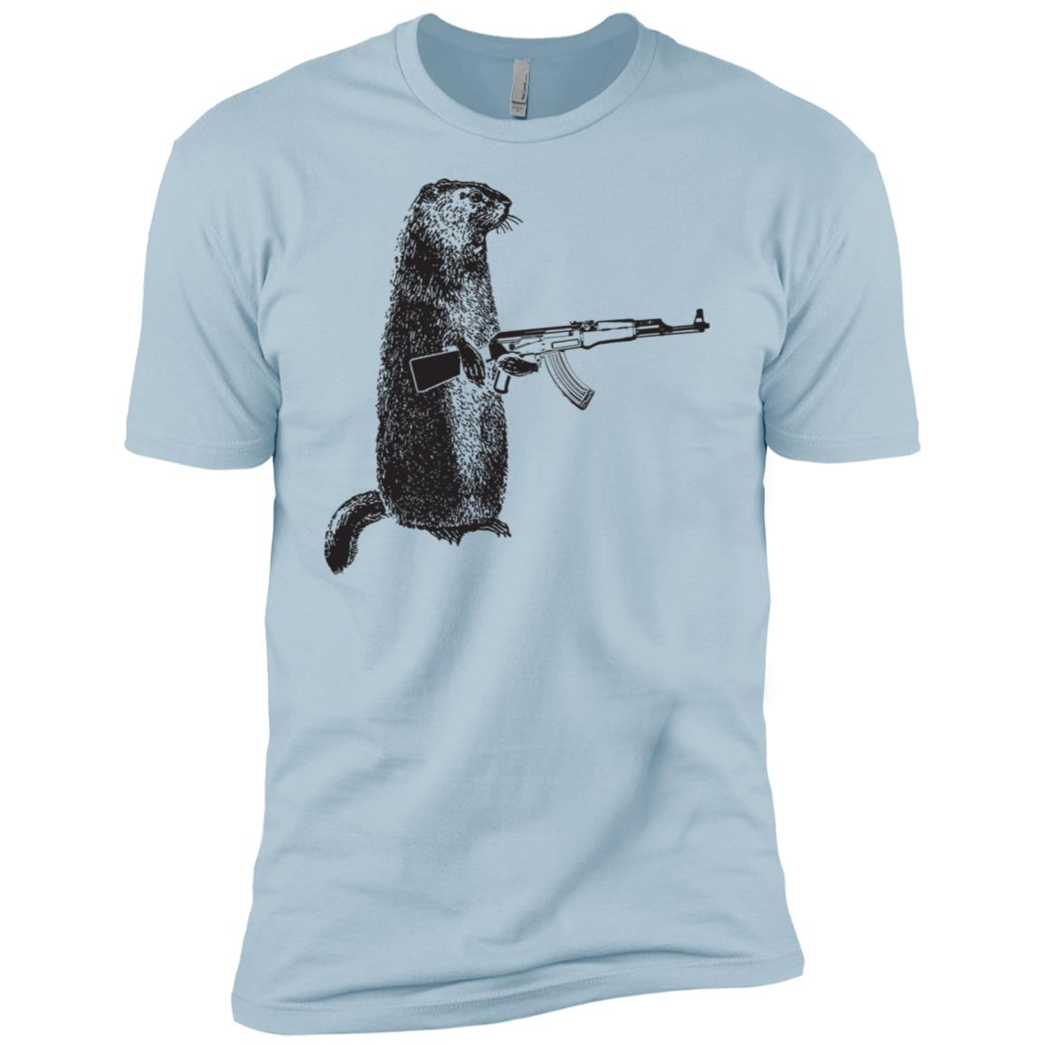 Hunting Woodchuck Ak-47 Gun groundhog funny tee Men Short Sleeve T-Shirt
