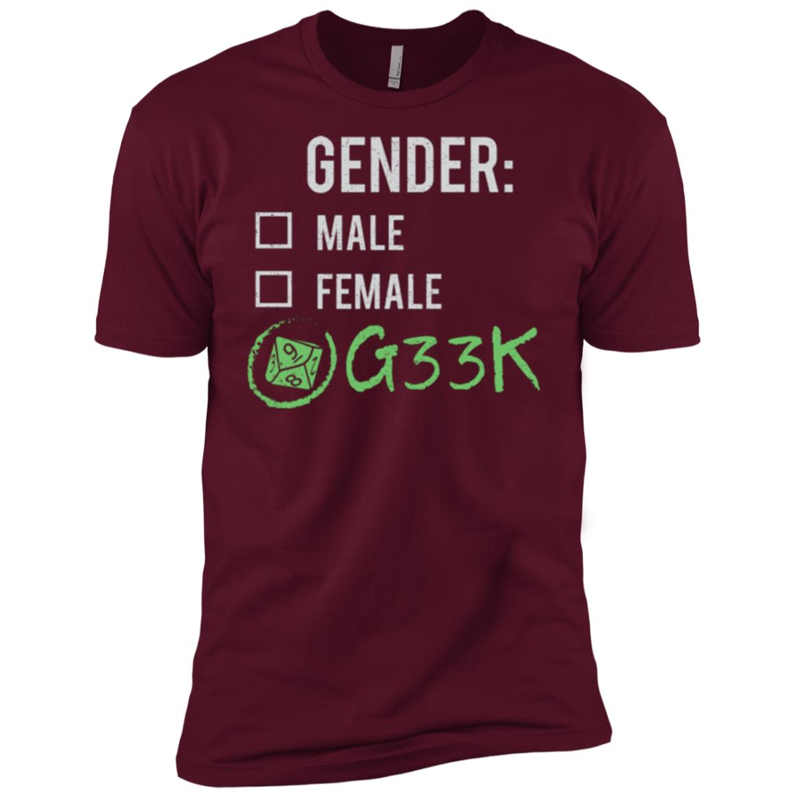 Male Female Geek (Dice) Gender Nonbinary Trans Men Short Sleeve T-Shirt