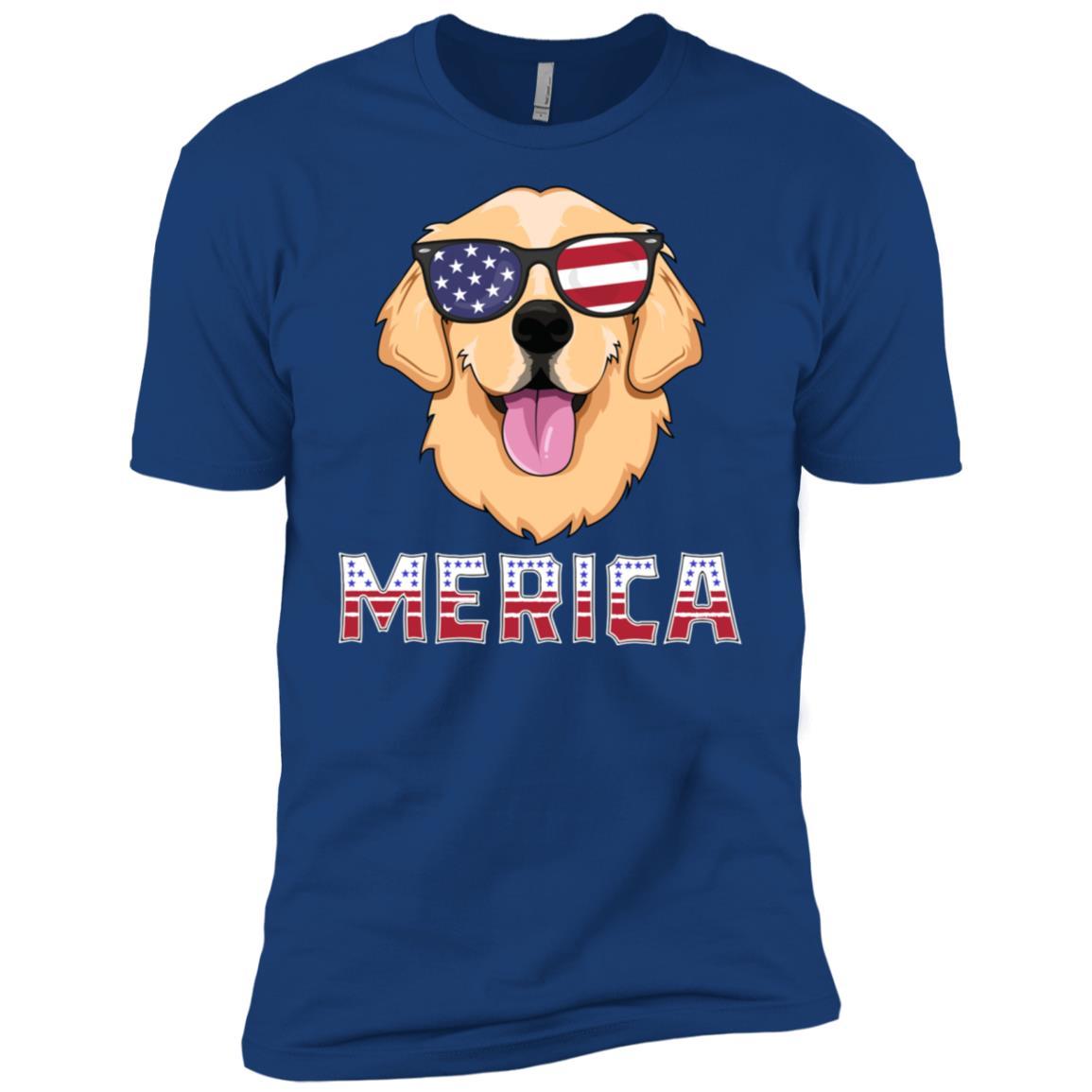 Merica Golden Retriever Men America Dog Men Short Sleeve T-Shirt