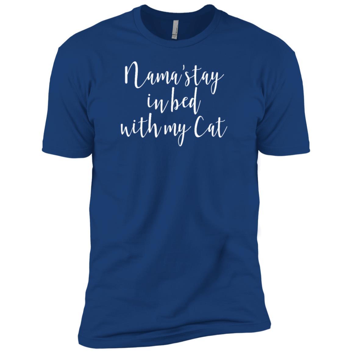 Funny Zen Cat Lover Gift Namaste in Bed Yoga Men Short Sleeve T-Shirt