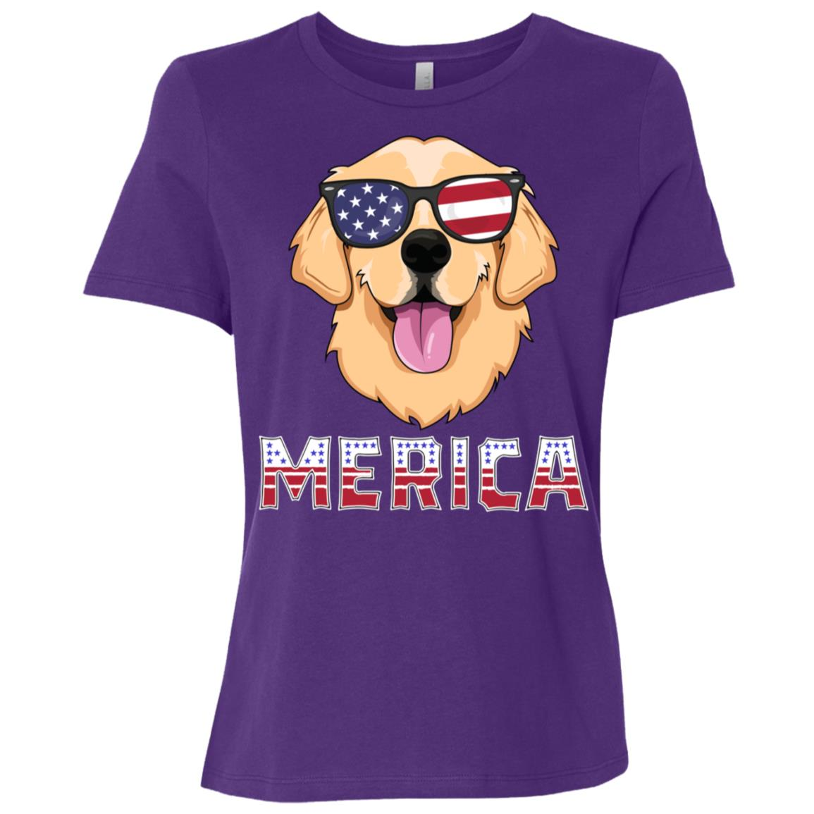 Merica Golden Retriever Men America Dog Women Short Sleeve T-Shirt