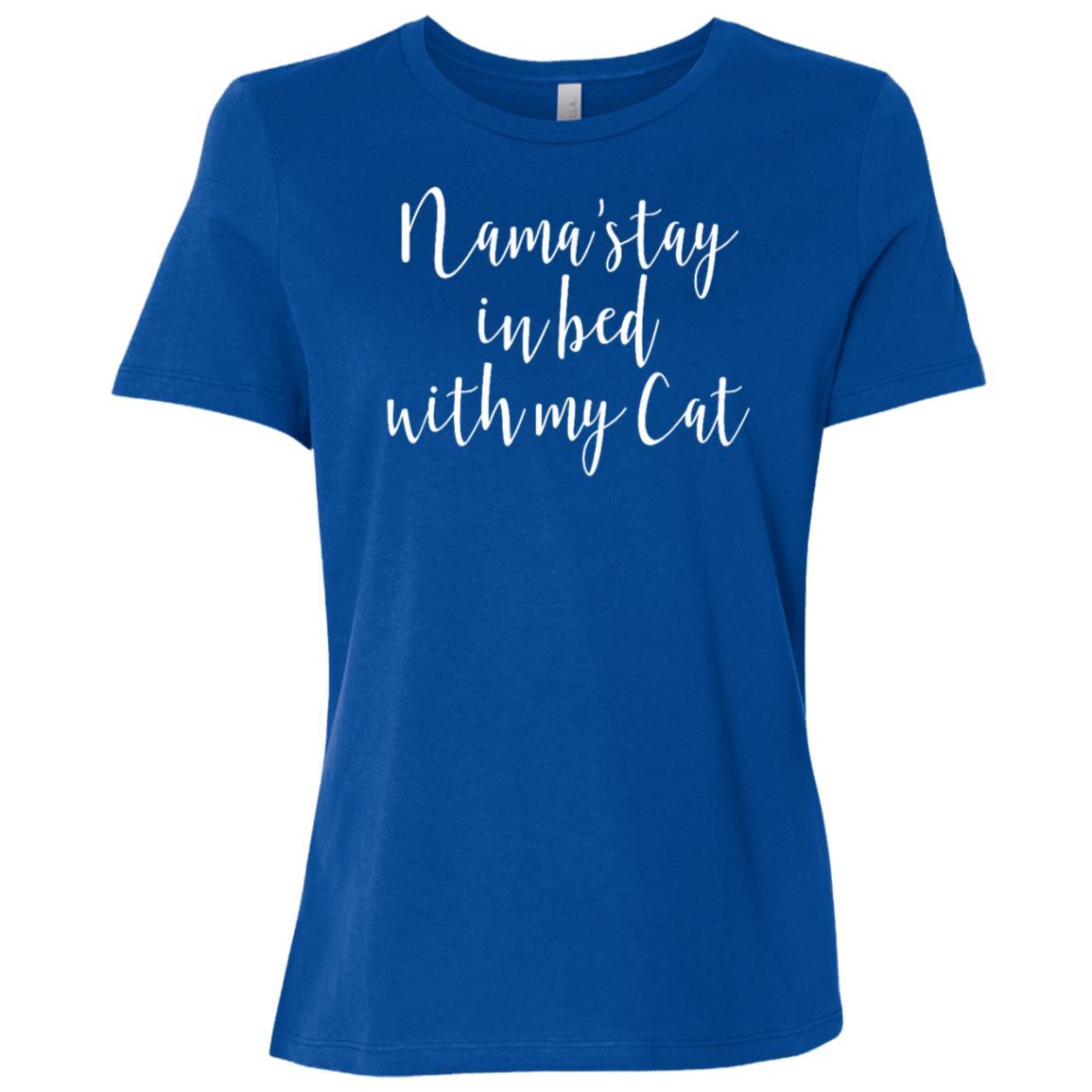 Funny Zen Cat Lover Gift Namaste in Bed Yoga Women Short Sleeve T-Shirt