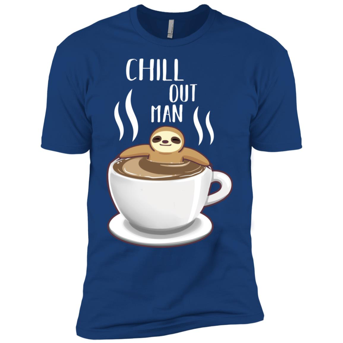 Chill Out Man Sloth Coffee Lover Funny Gift Cute Men Short Sleeve T-Shirt