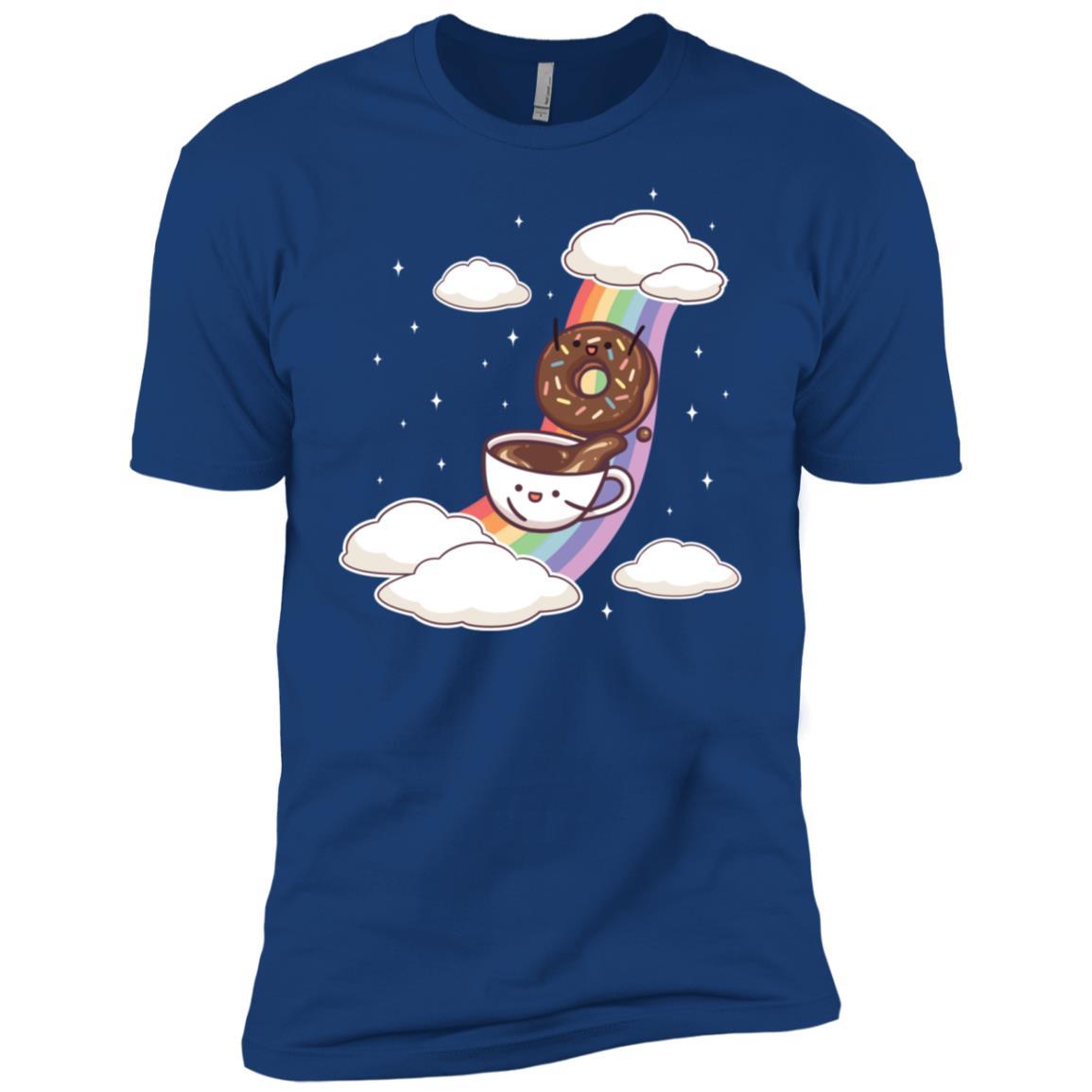 Coffee & Donuts Sliding Rainbow Funny Cute Gift Men Short Sleeve T-Shirt