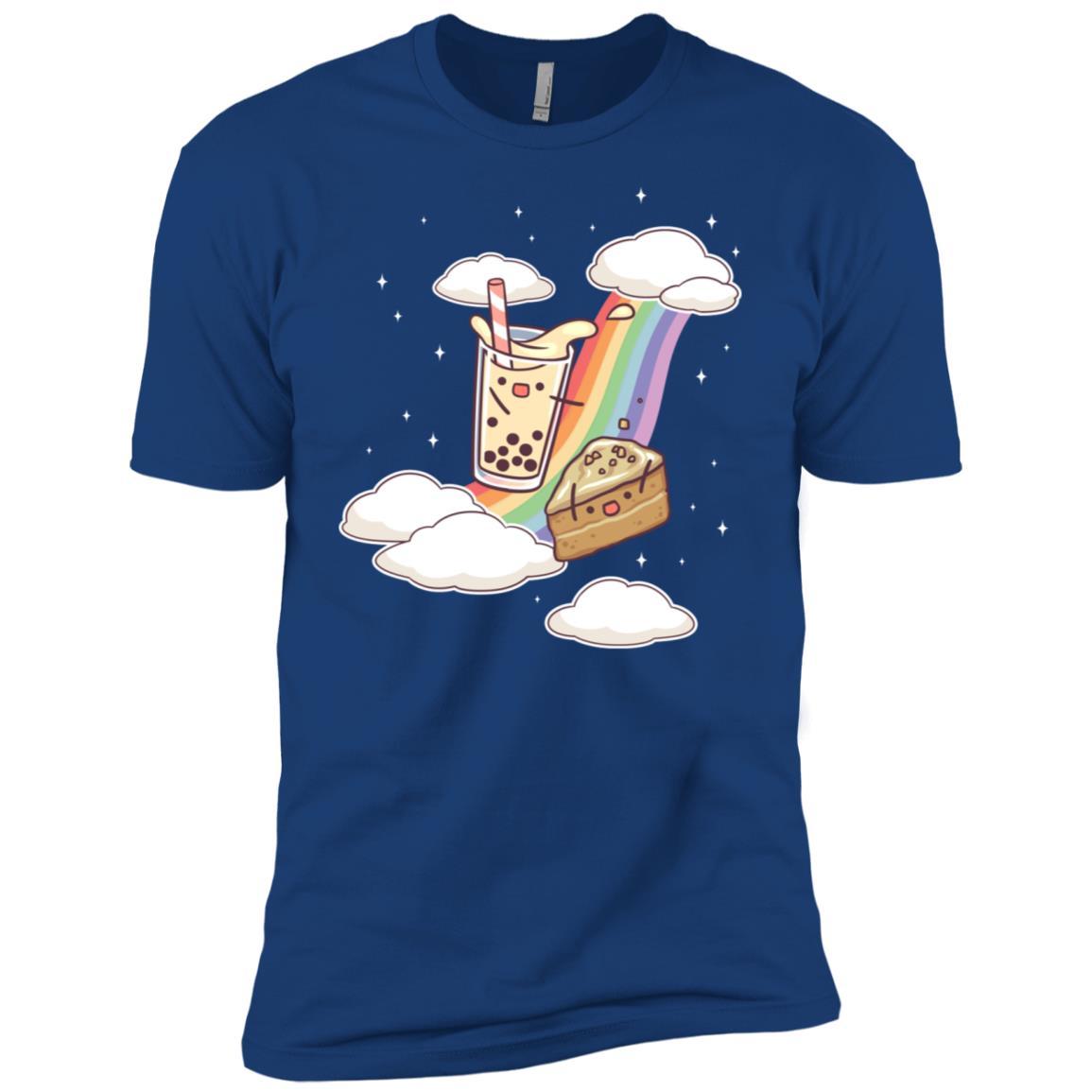 Bubble Milk Tea Coffee Cake Rainbow Boba Gift Cute Men Short Sleeve T-Shirt