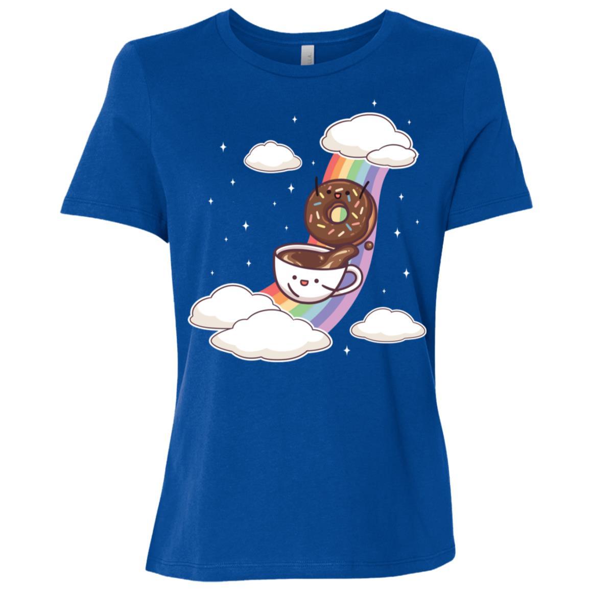 Coffee & Donuts Sliding Rainbow Funny Cute Gift Women Short Sleeve T-Shirt