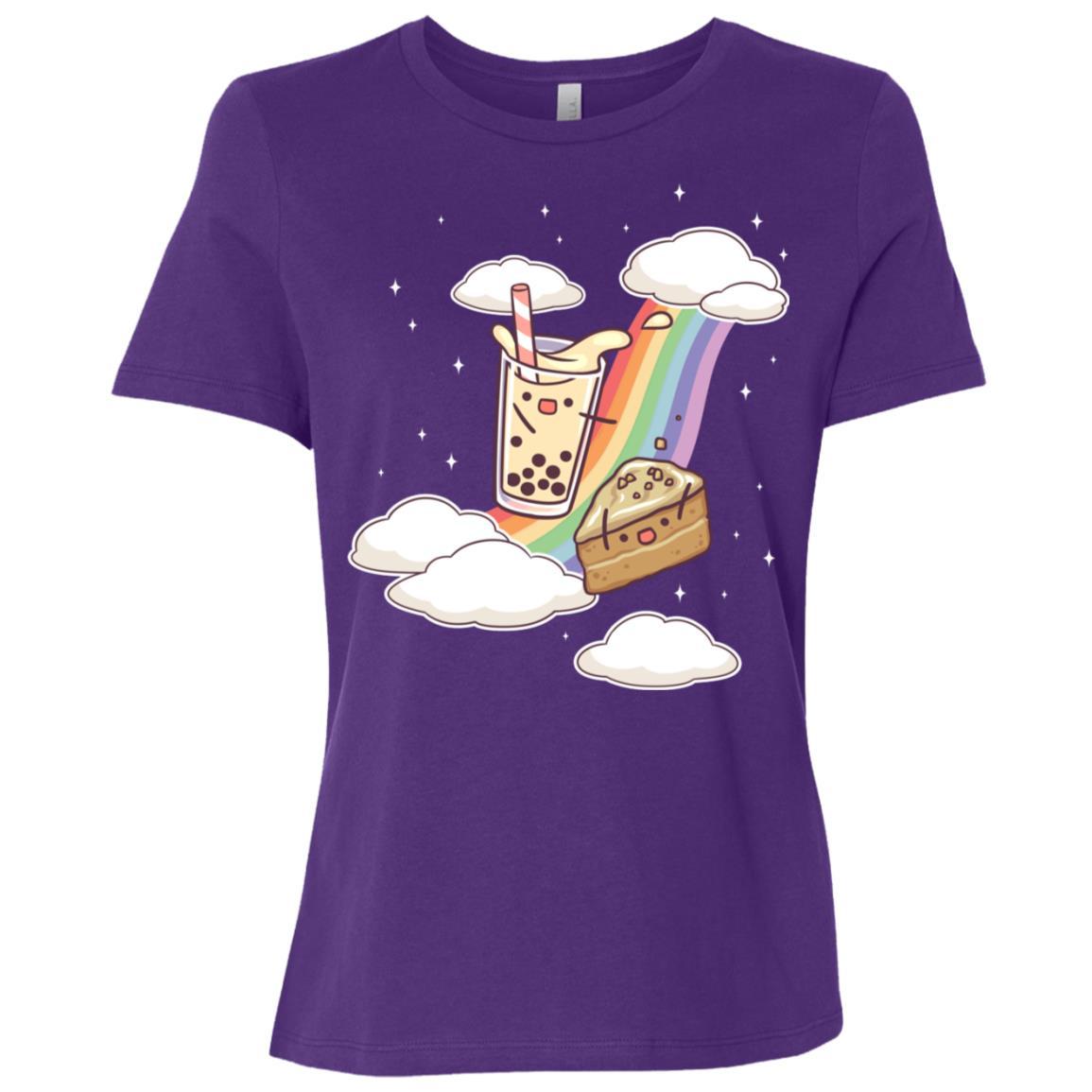 Bubble Milk Tea Coffee Cake Rainbow Boba Gift Cute Women Short Sleeve T-Shirt