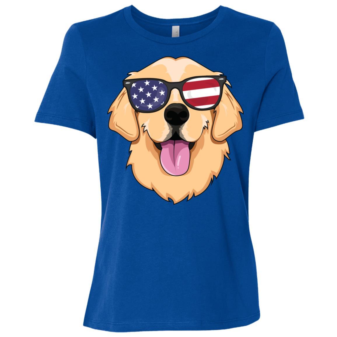 American Golden Retriever Men Dog Usa Women Short Sleeve T-Shirt