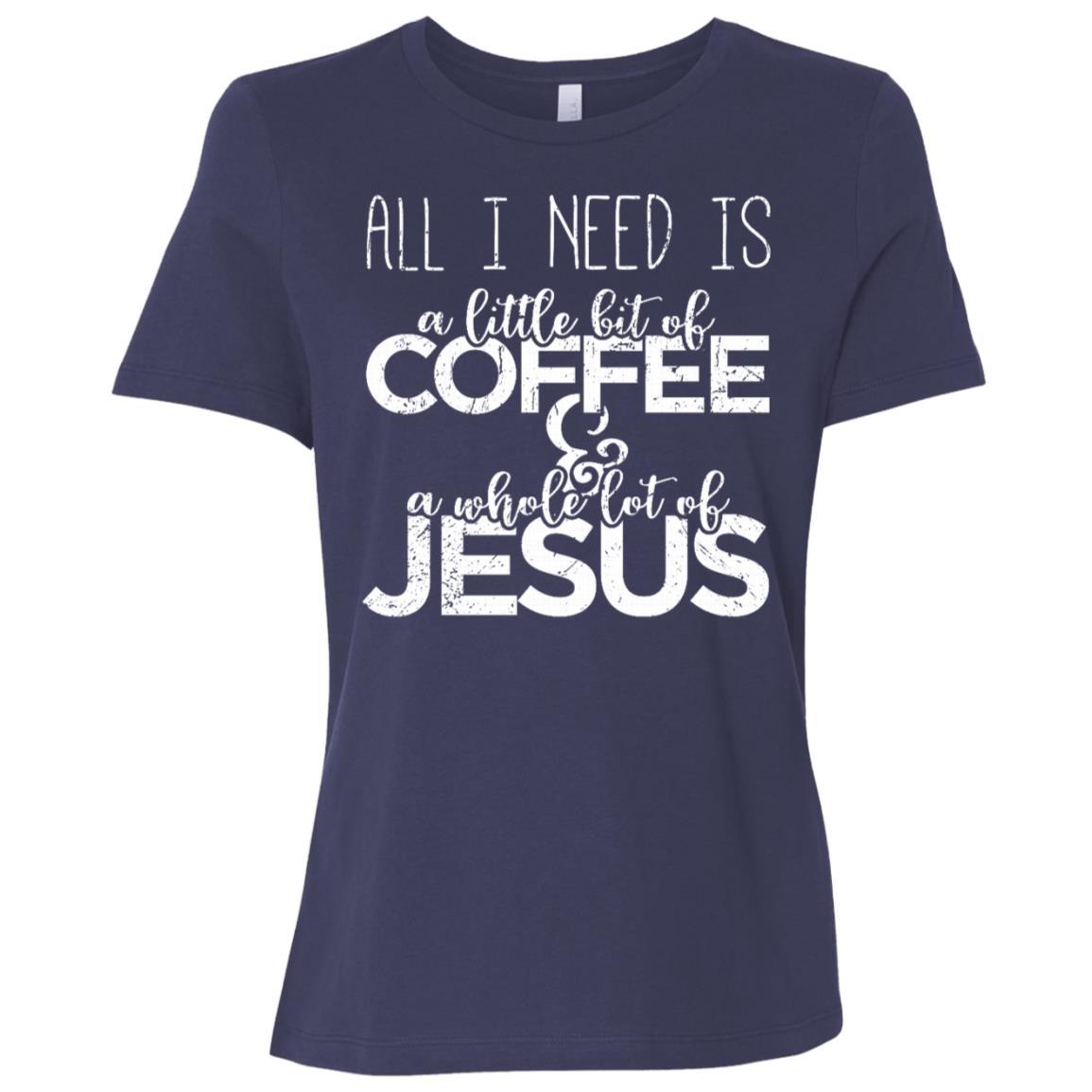 A Little Bit Of Coffee & A Whole Lot Of Jesus Sleeves Women Short Sleeve T-Shirt