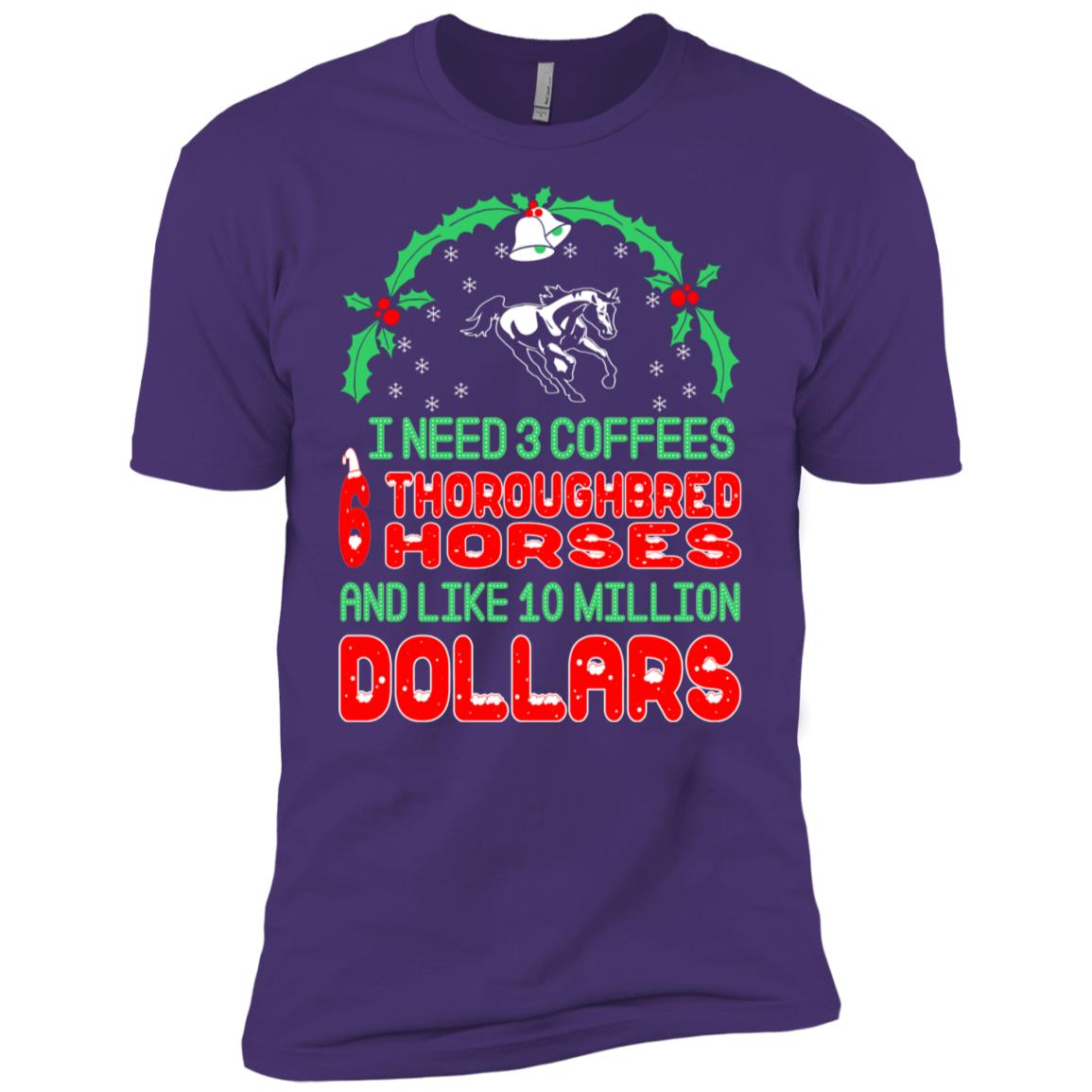 Need 3 Coffees 6 Thoroughbreds Christmas Ugly Sweater Men Short Sleeve T-Shirt