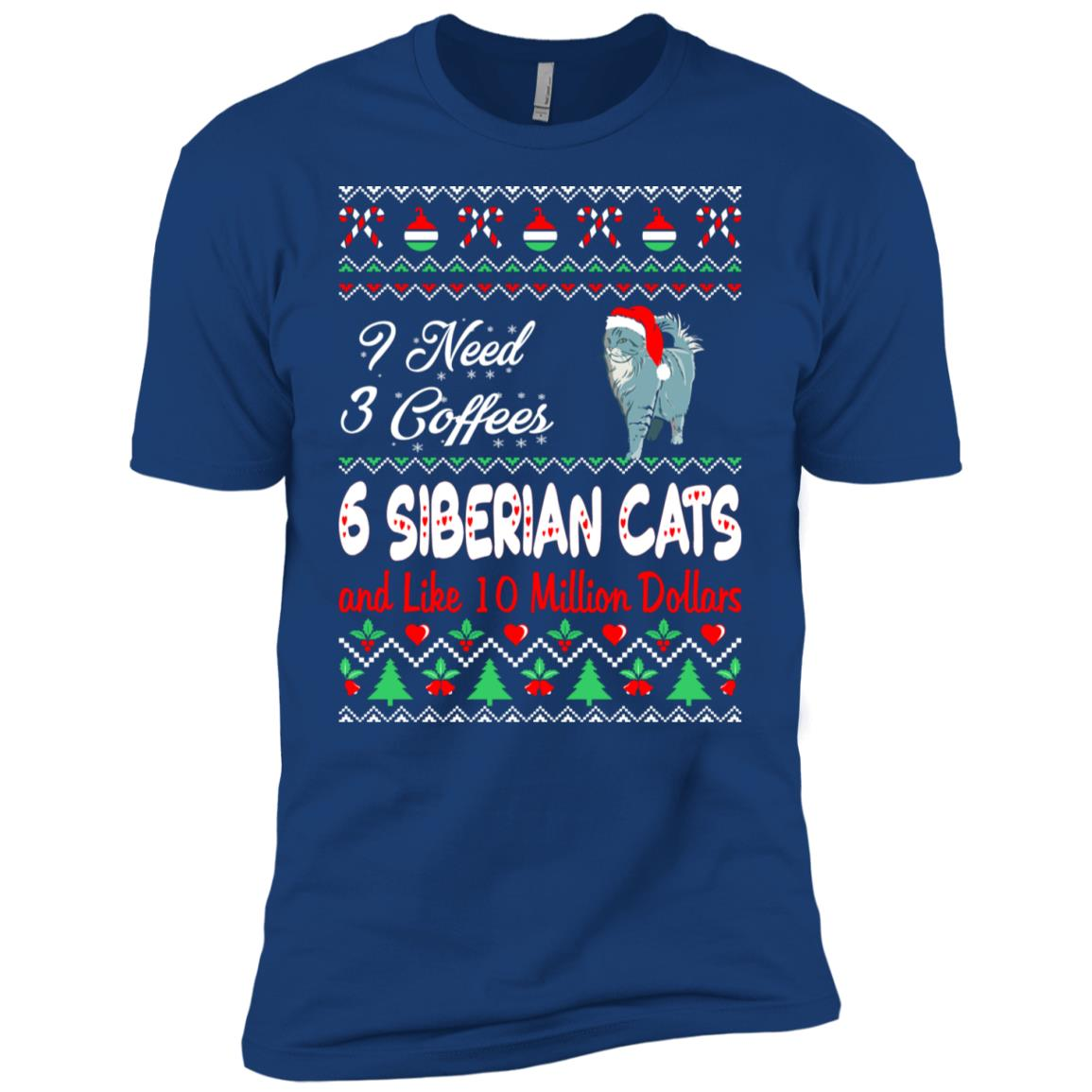 Need 3 Coffees 6 Siberian Cats Christmas Ugly Sweater Men Short Sleeve T-Shirt