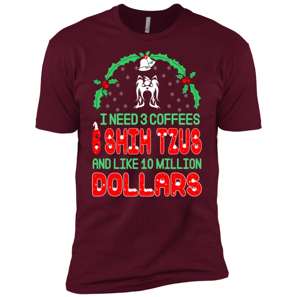 Need 3 Coffees 6 Shih Tzus Christmas Ugly Sweater-1 Men Short Sleeve T-Shirt