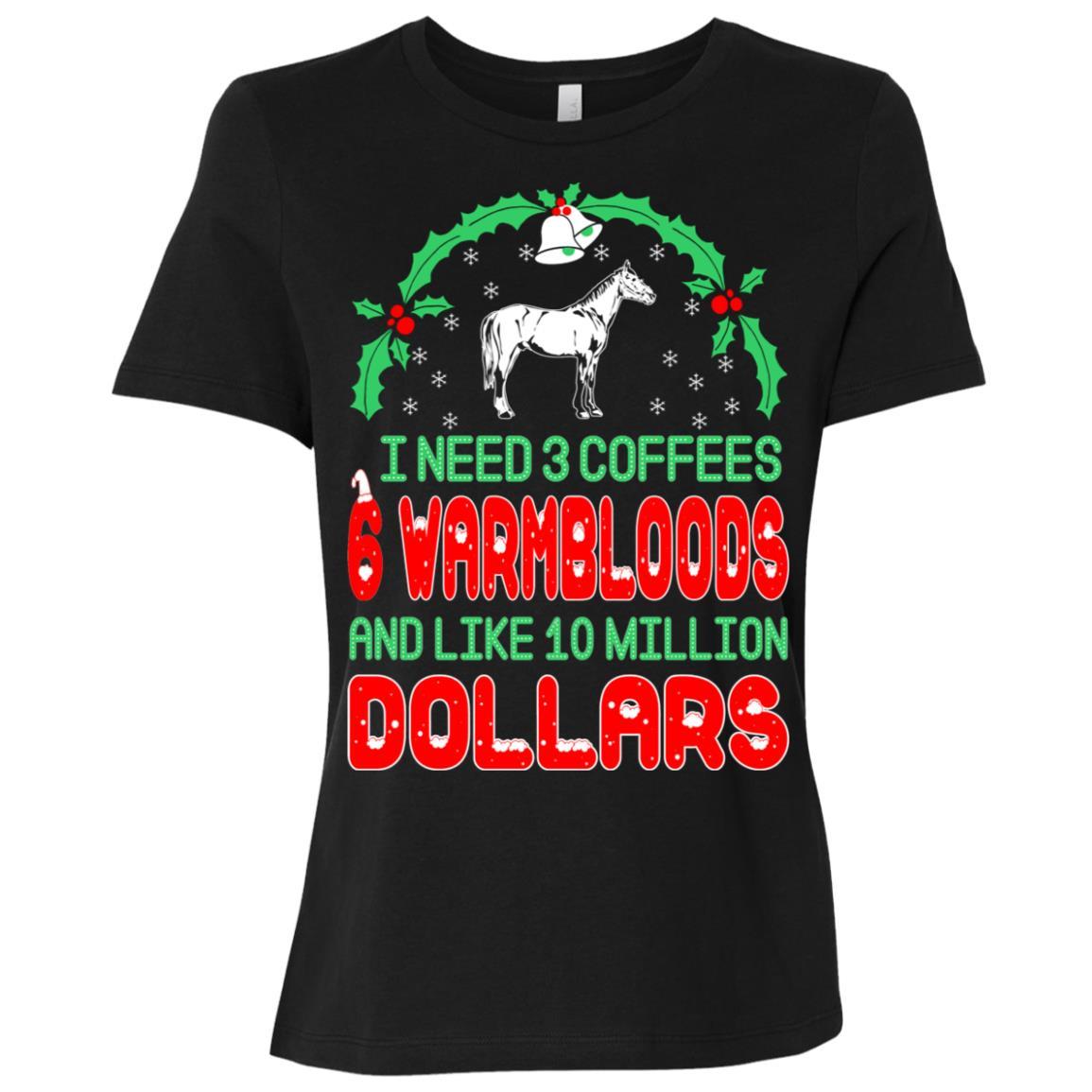 Need 3 Coffees 6 Warmbloods Christmas Ugly Sweater-1 Women Short Sleeve T-Shirt