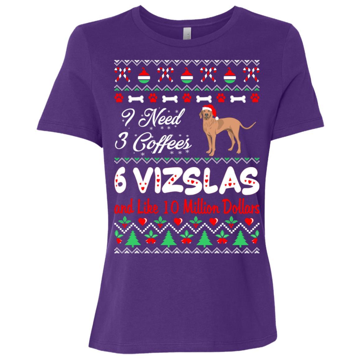 Need 3 Coffees 6 Vizslas Christmas Ugly Sweater Women Short Sleeve T-Shirt
