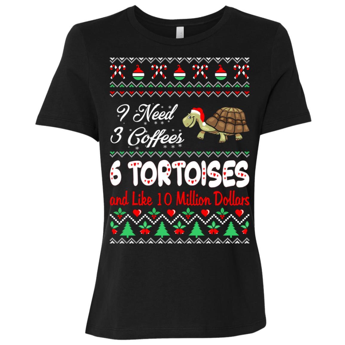 Need 3 Coffees 6 Tortoises Christmas Ugly Sweater Women Short Sleeve T-Shirt