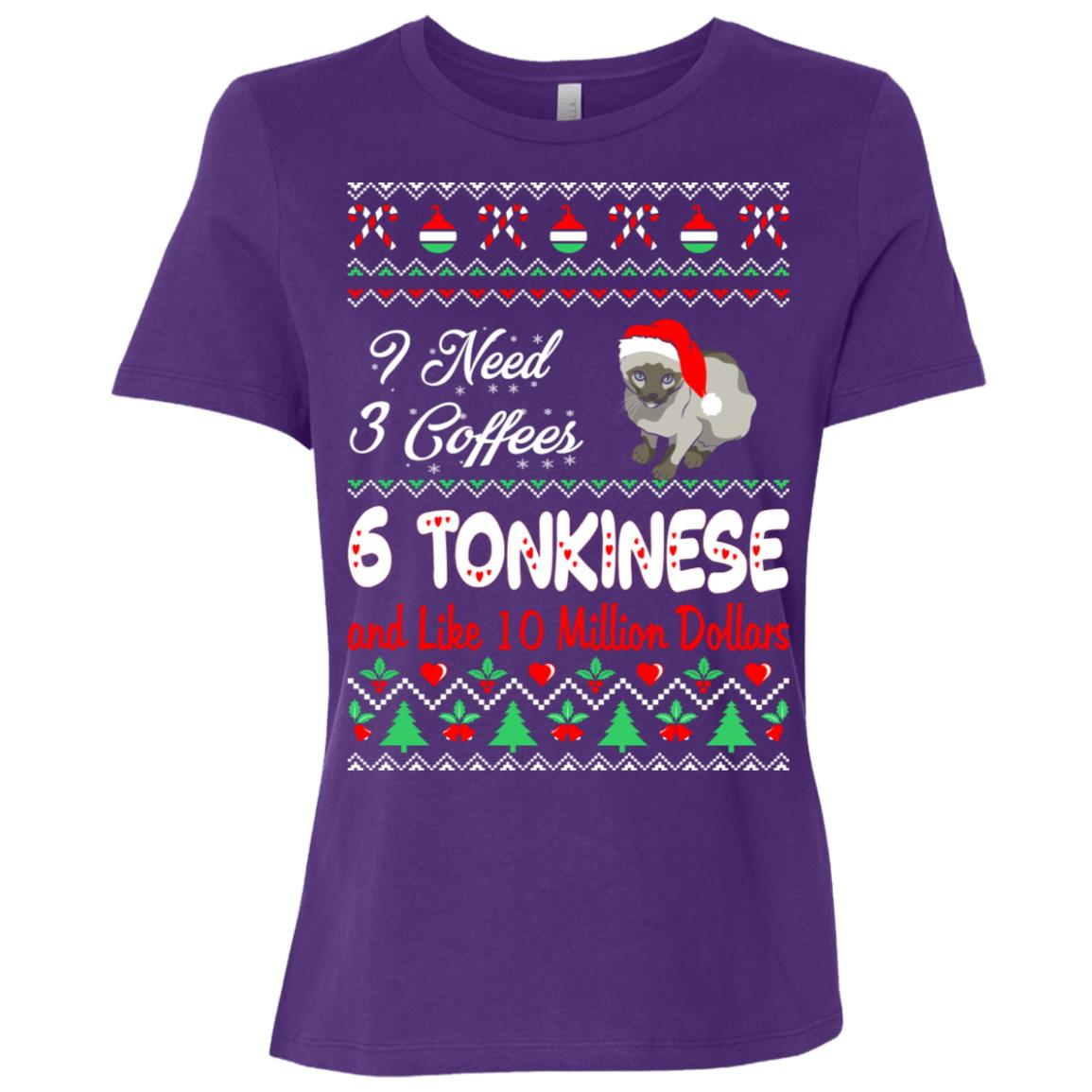 Need 3 Coffees 6 Tonkinese Christmas Ugly Sweater Women Short Sleeve T-Shirt