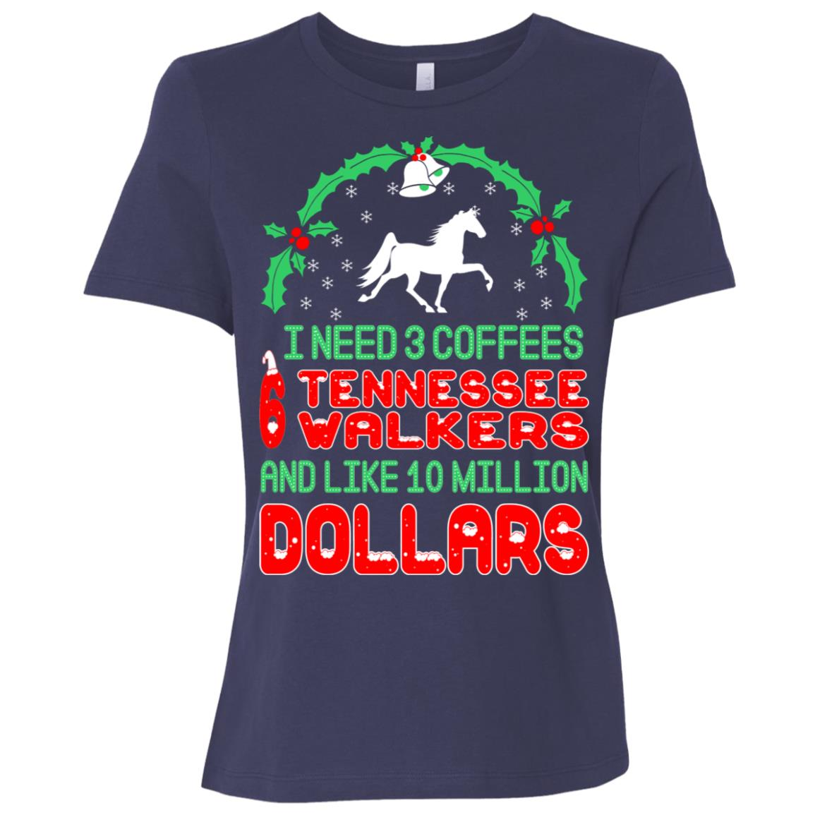 Need 3 Coffees 6 Tennessee Walkers Christmas Ugly Sweater-1 Women Short Sleeve T-Shirt