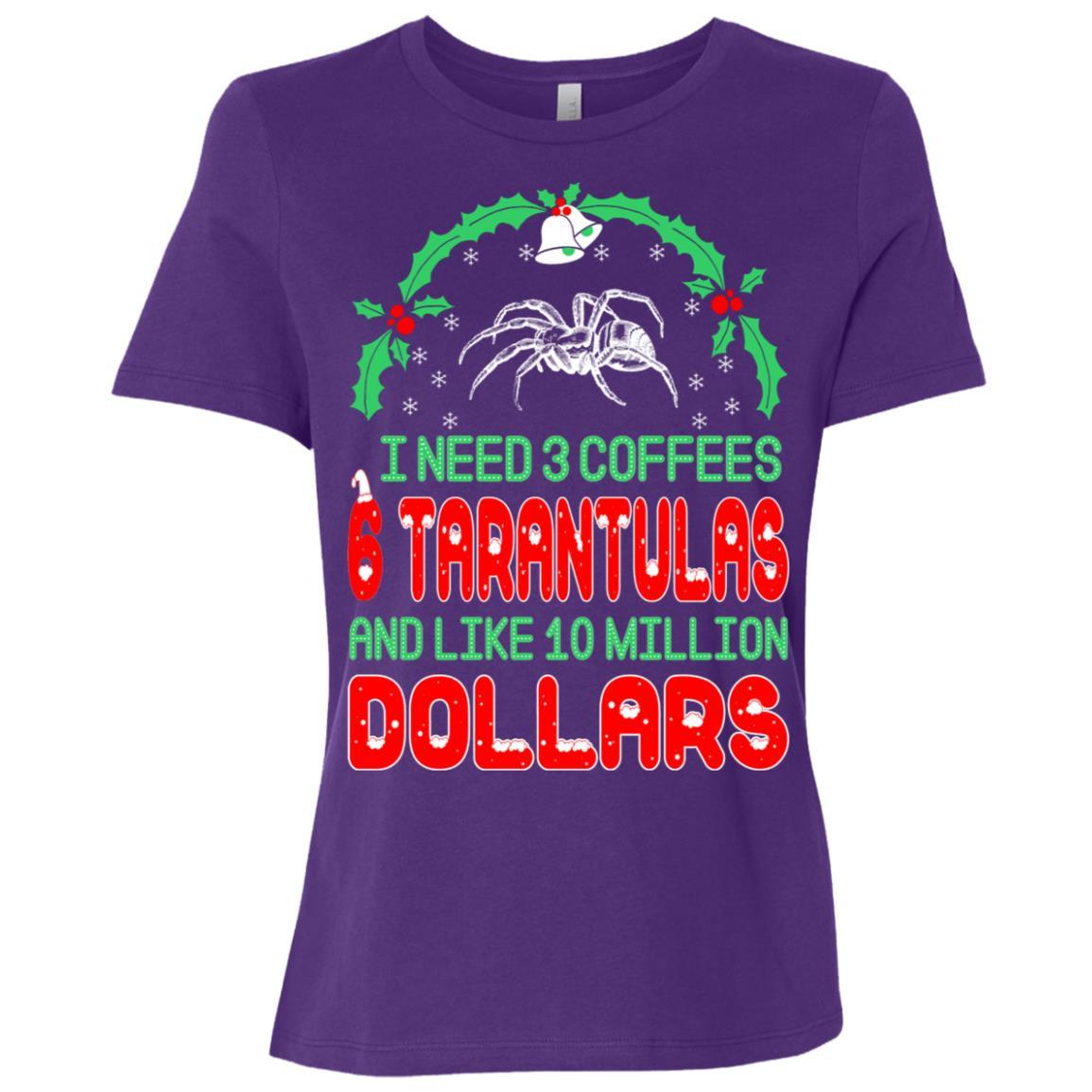 Need 3 Coffees 6 Tarantulas Christmas Ugly Sweater Women Short Sleeve T-Shirt
