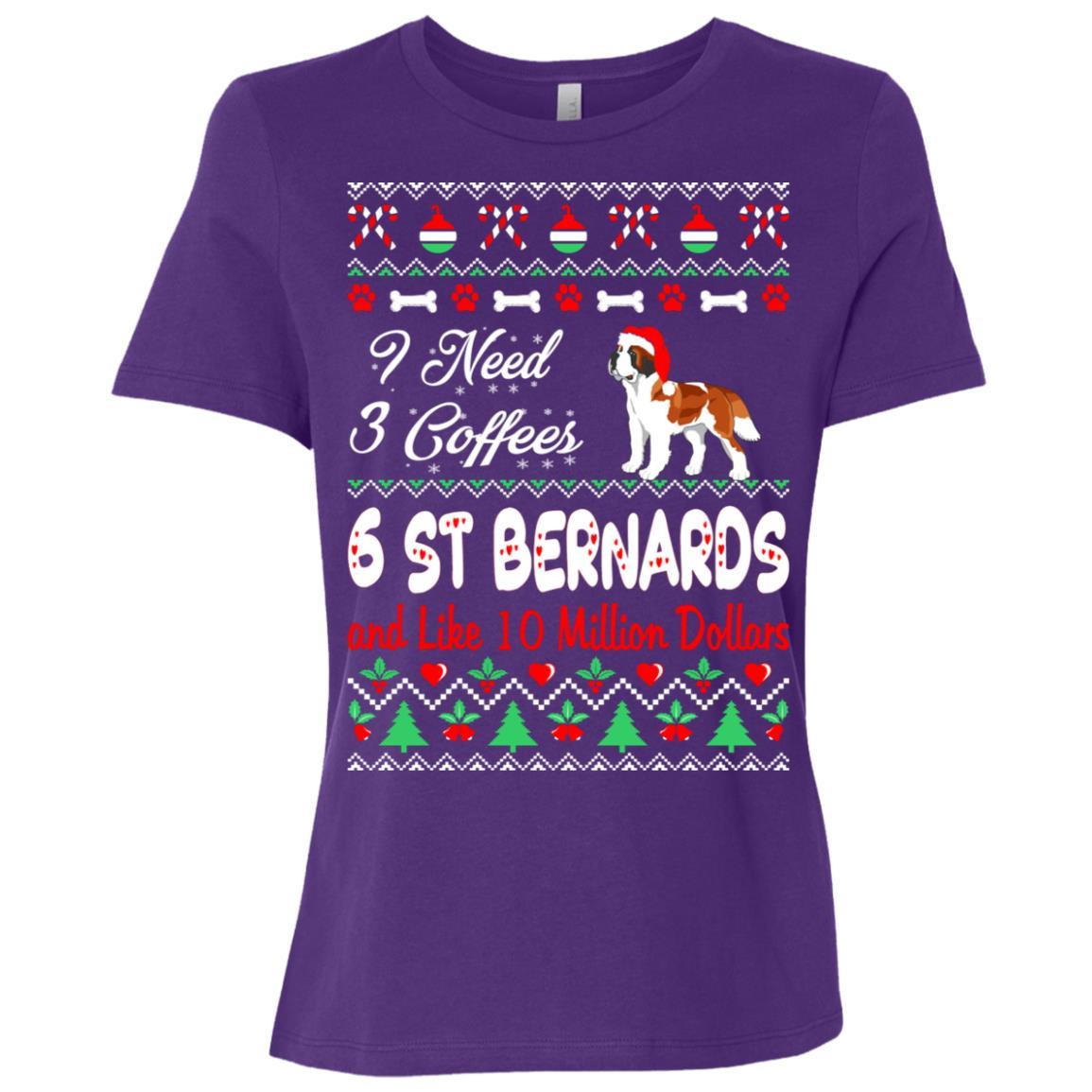 Need 3 Coffees 6 St Bernards Christmas Ugly Sweater Women Short Sleeve T-Shirt