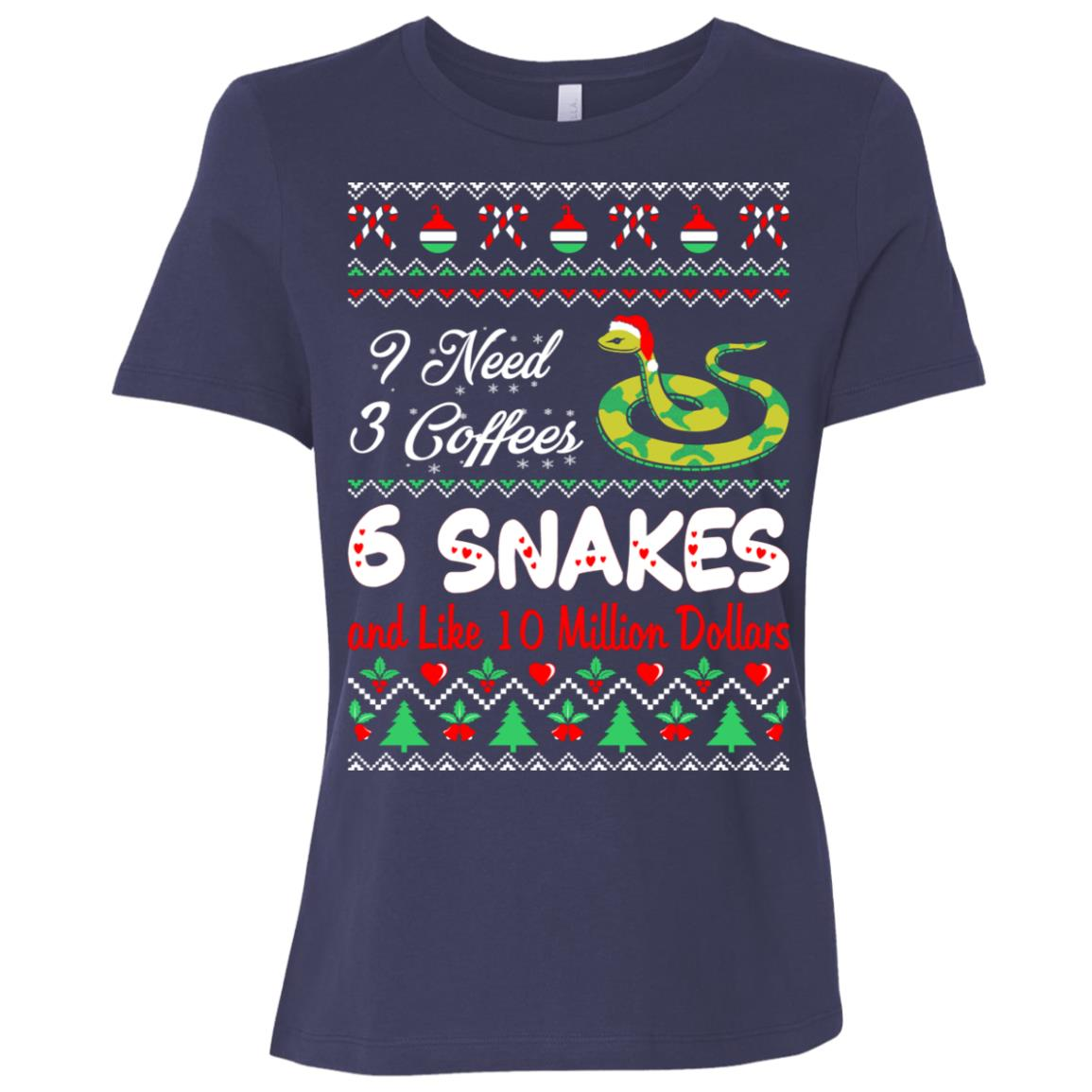 Need 3 Coffees 6 Snakes Christmas Ugly Sweater Women Short Sleeve T-Shirt
