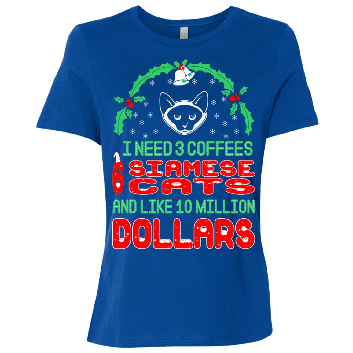 Need 3 Coffees 6 Siamese Christmas Ugly Sweater Women Short Sleeve T-Shirt