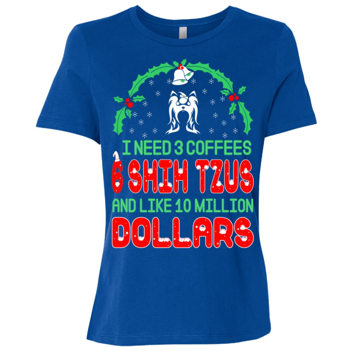 Need 3 Coffees 6 Shih Tzus Christmas Ugly Sweater-1 Women Short Sleeve T-Shirt