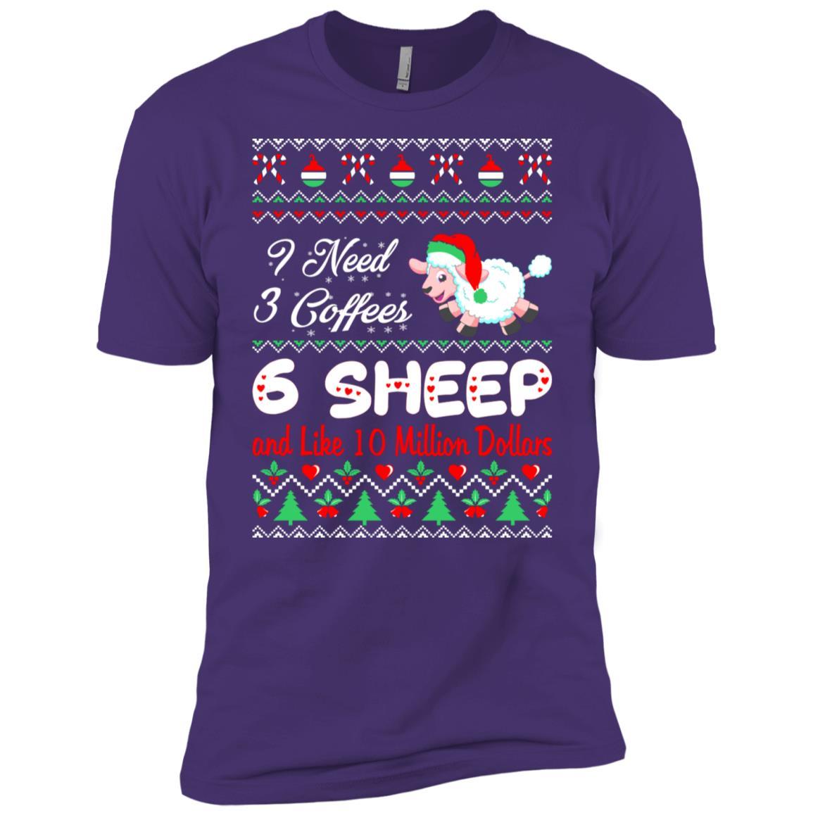 Need 3 Coffees 6 Sheep Christmas Ugly Sweater Men Short Sleeve T-Shirt