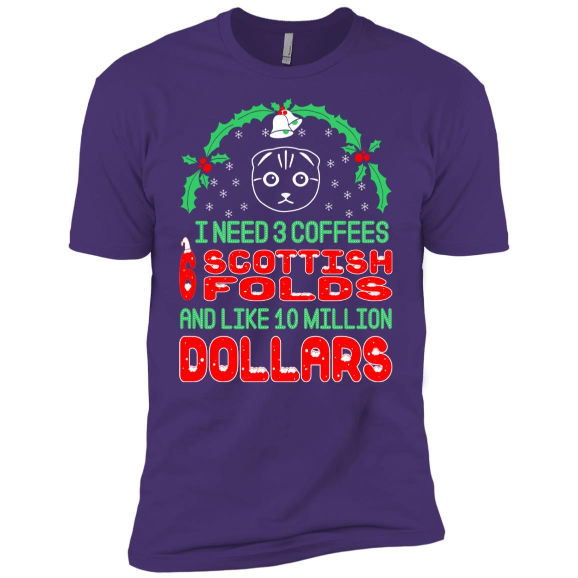 Need 3 Coffees 6 Scottish Folds Christmas Ugly Sweater Tees-1 Men Short Sleeve T-Shirt