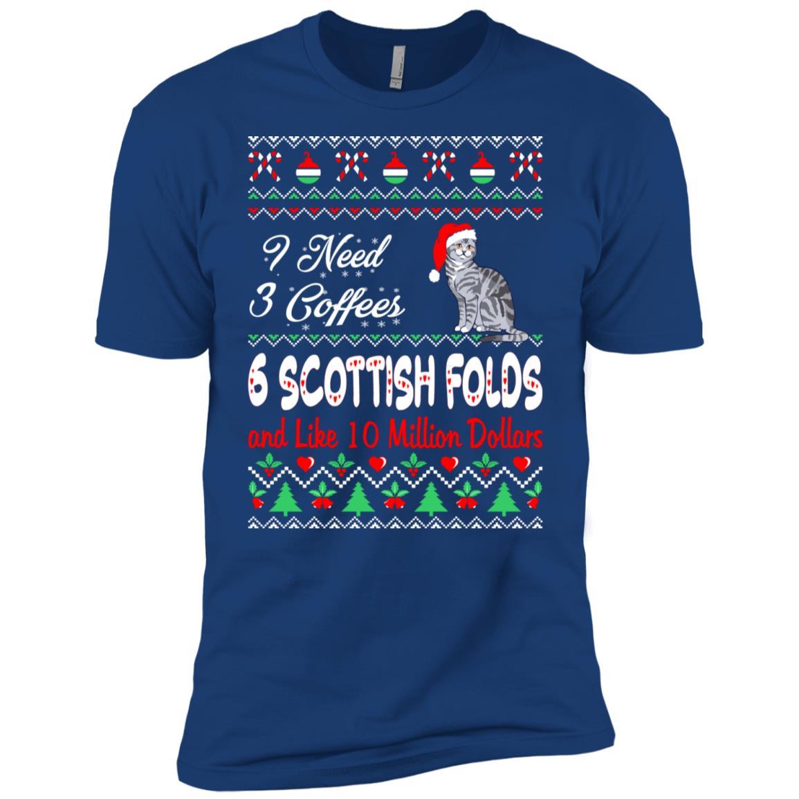 Need 3 Coffees 6 Scottish Folds Christmas Ugly Sweater Tees Men Short Sleeve T-Shirt