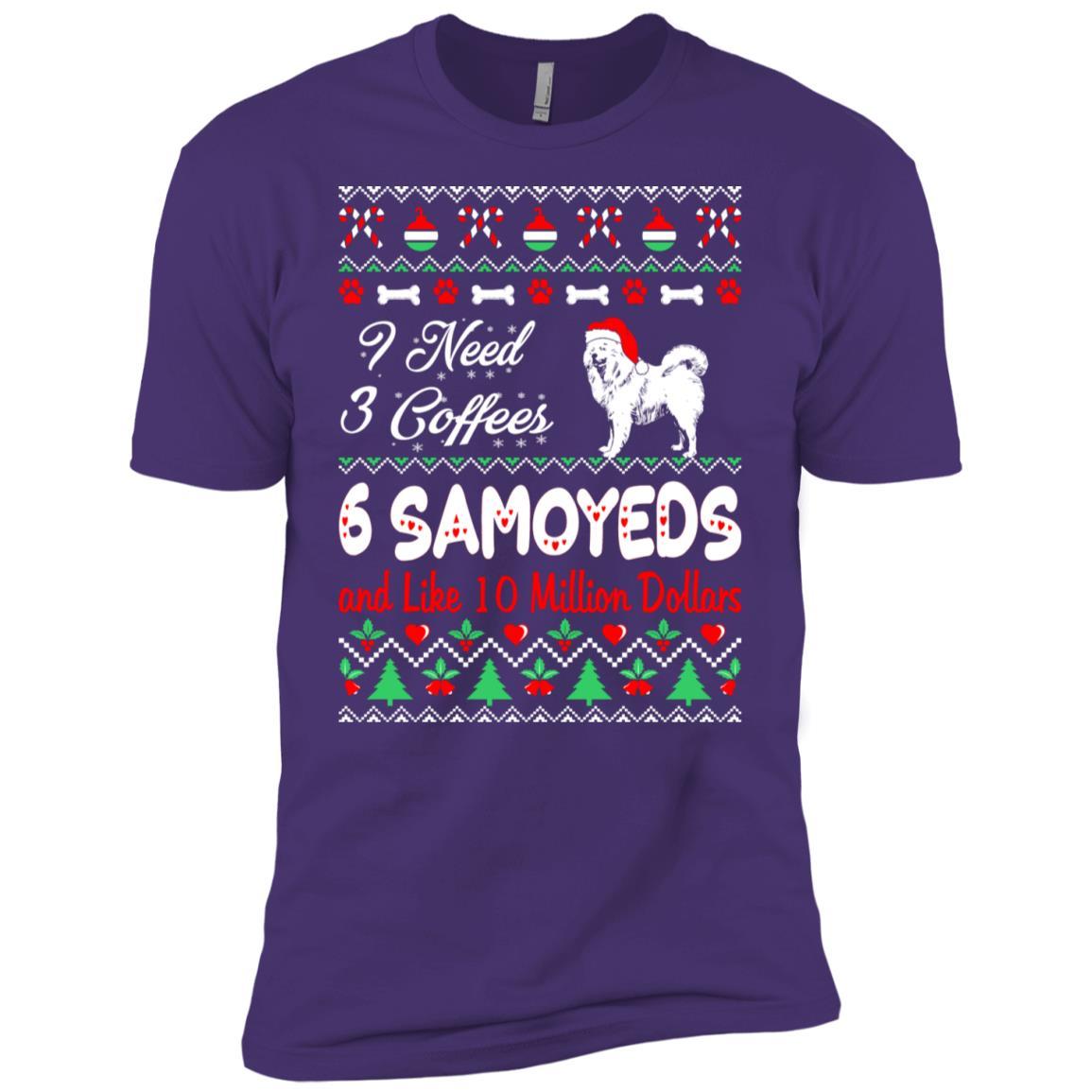 Need 3 Coffees 6 Samoyeds Christmas Ugly Sweater Men Short Sleeve T-Shirt