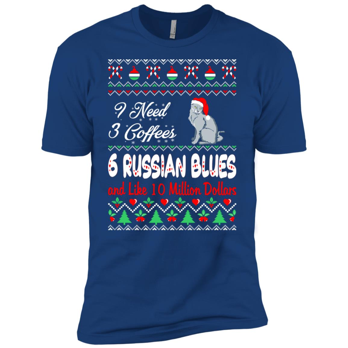 Need 3 Coffees 6 Russian Blues Christmas Ugly Sweater Men Short Sleeve T-Shirt