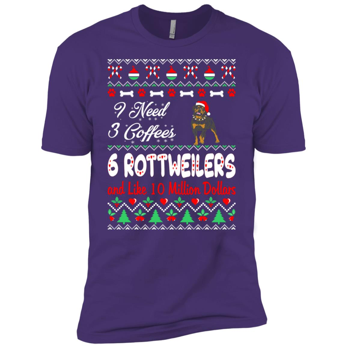Need 3 Coffees 6 Rottweilers Christmas Ugly Sweater Men Short Sleeve T-Shirt