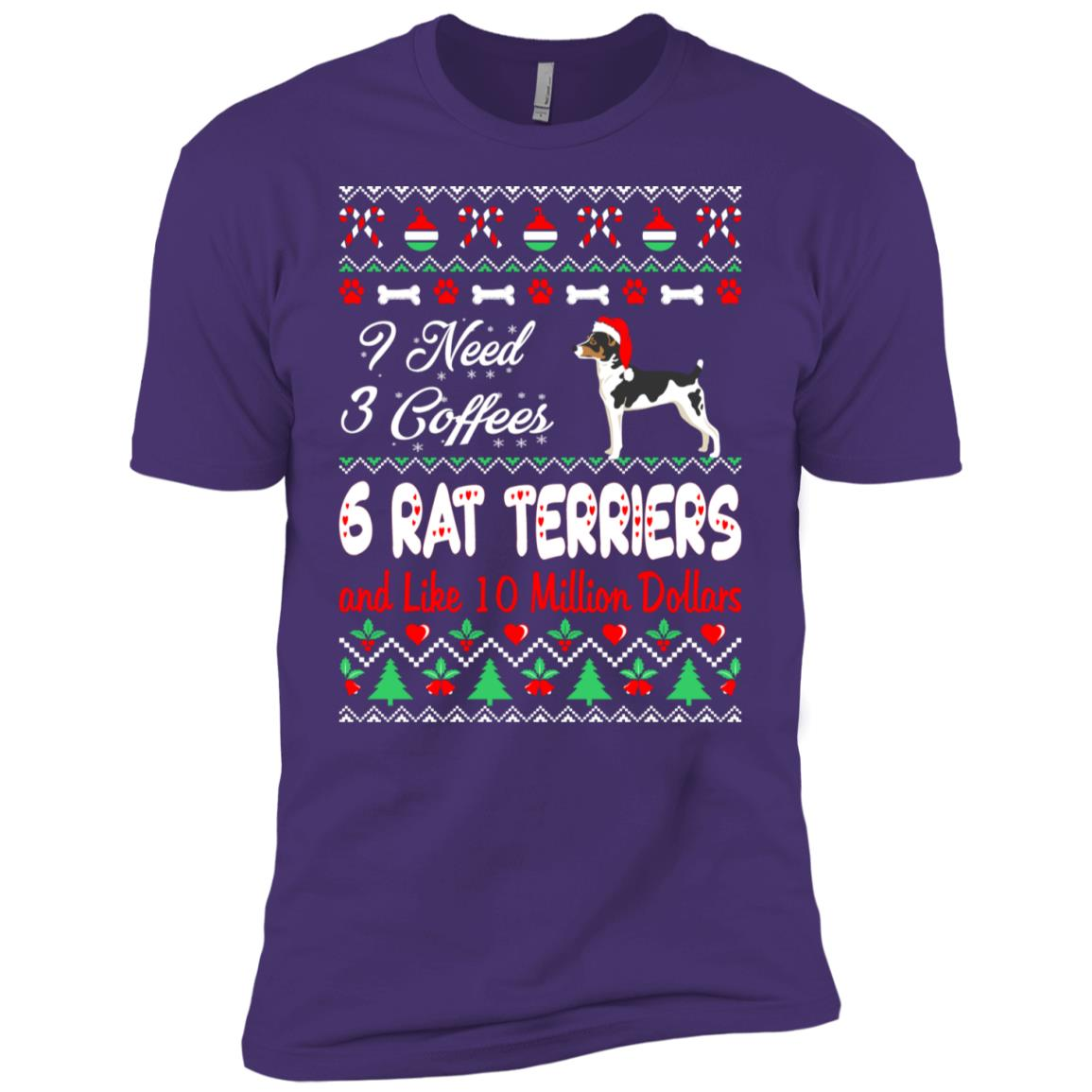 Need 3 Coffees 6 Rat Terriers Christmas Ugly Sweater Men Short Sleeve T-Shirt