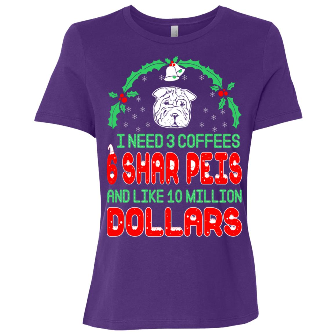 Need 3 Coffees 6 Shar Peis Christmas Ugly Sweater-1 Women Short Sleeve T-Shirt