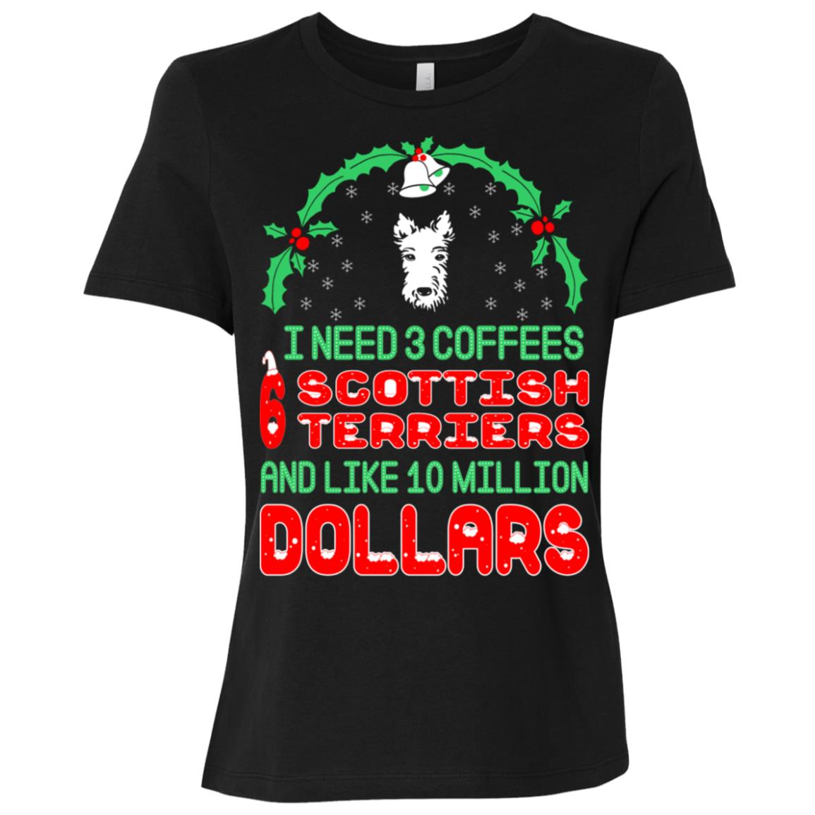 Need 3 Coffees 6 Scottish Terriers Christmas Ugly Sweater-1 Women Short Sleeve T-Shirt
