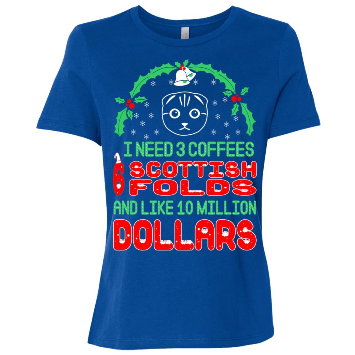 Need 3 Coffees 6 Scottish Folds Christmas Ugly Sweater Tees-1 Women Short Sleeve T-Shirt