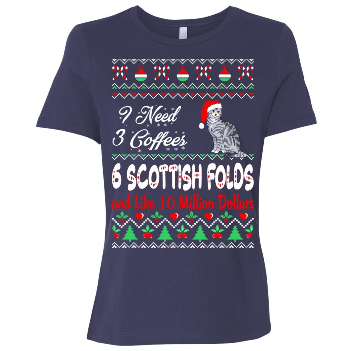 Need 3 Coffees 6 Scottish Folds Christmas Ugly Sweater Tees Women Short Sleeve T-Shirt