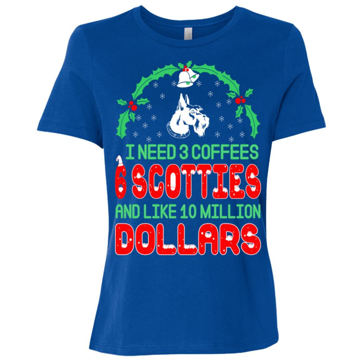 Need 3 Coffees 6 Scotties Christmas Ugly Sweater-1 Women Short Sleeve T-Shirt
