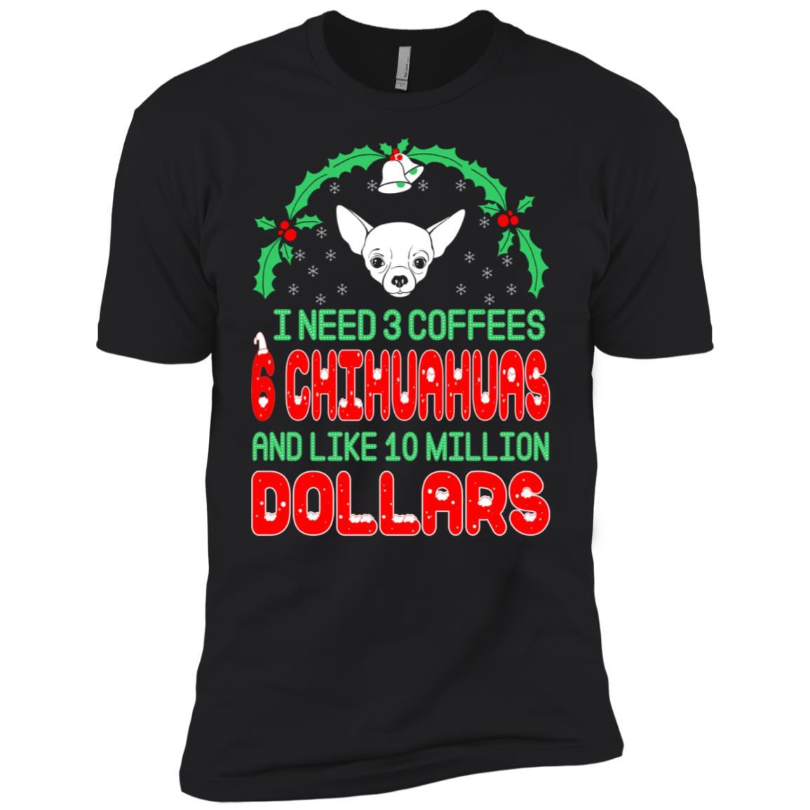 Need 3 Coffees 6 Chihuahuas Christmas Ugly Sweater Men Short Sleeve T-Shirt