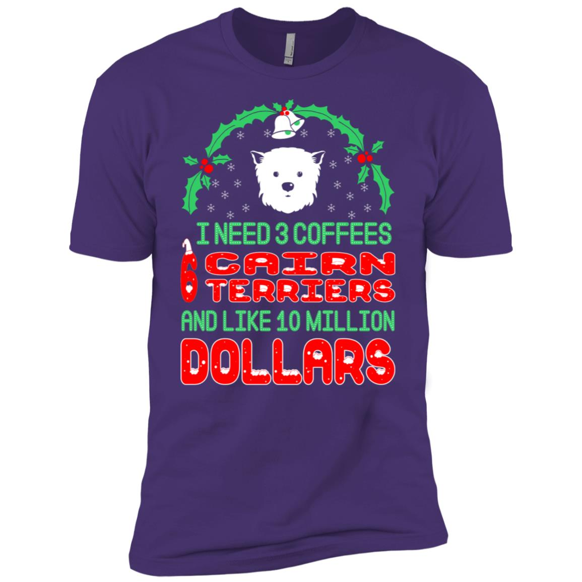 Need 3 Coffees 6 Cairn Terriers Christmas Ugly Sweater Tees-1 Men Short Sleeve T-Shirt