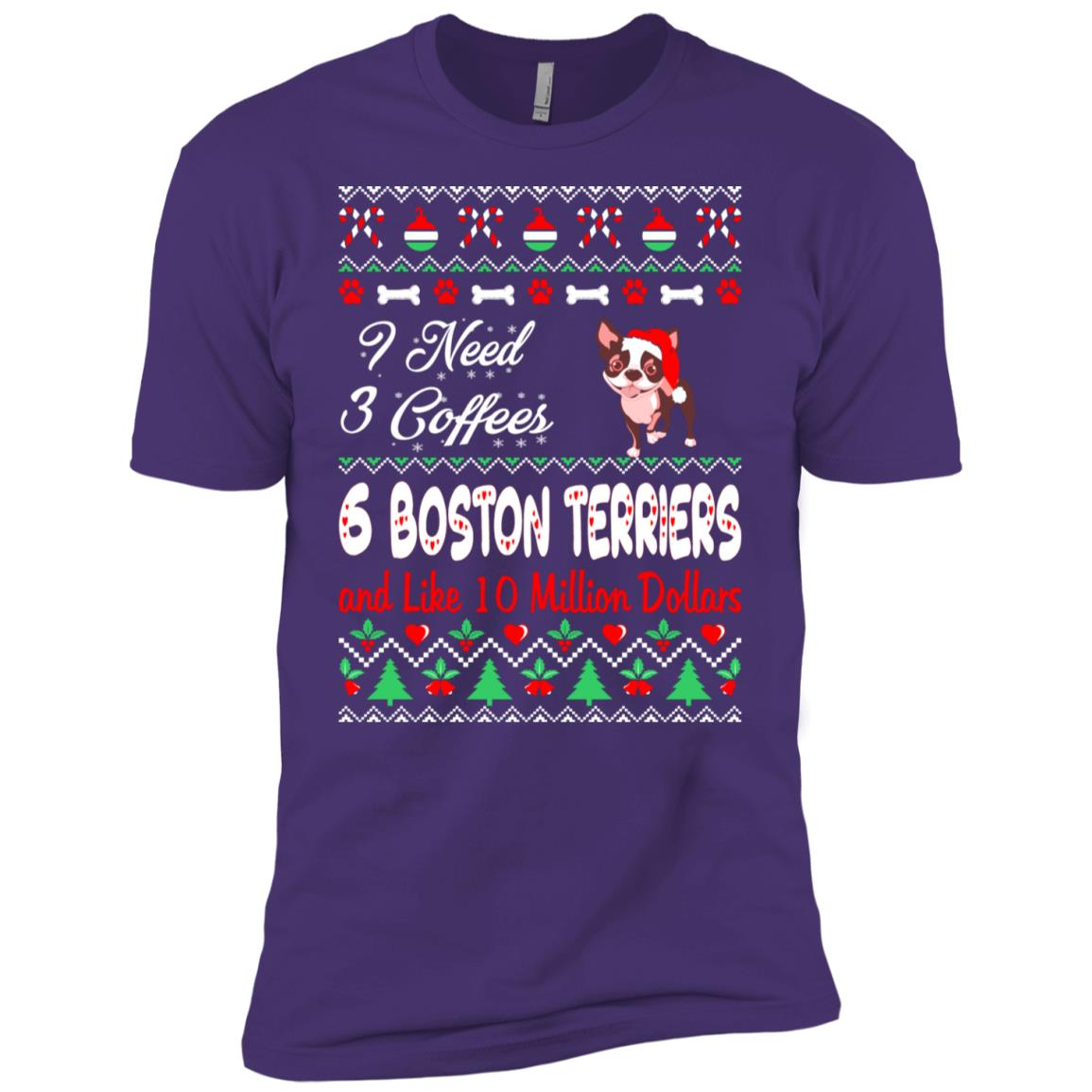 Need 3 Coffees 6 Boston Terriers Christmas Ugly Sweater Tee Men Short Sleeve T-Shirt