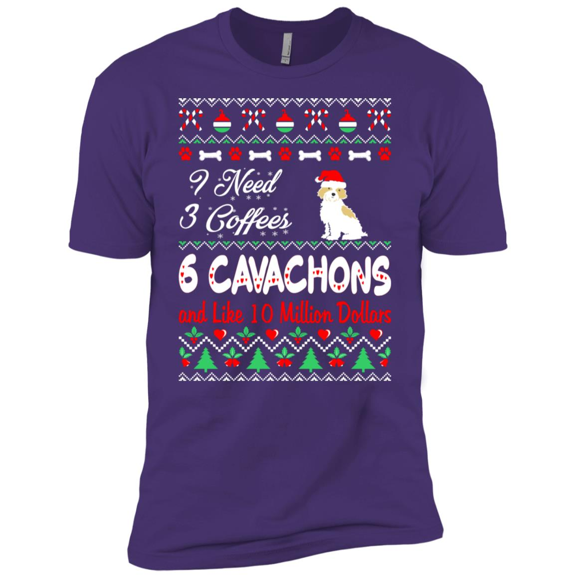 Need 3 Coffees 6 Cavachons Christmas Ugly Sweater Men Short Sleeve T-Shirt