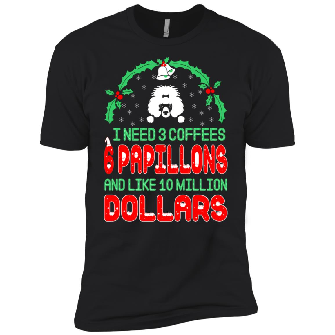 Need 3 Coffees 6 Papillons Christmas Ugly Sweater-1 Men Short Sleeve T-Shirt