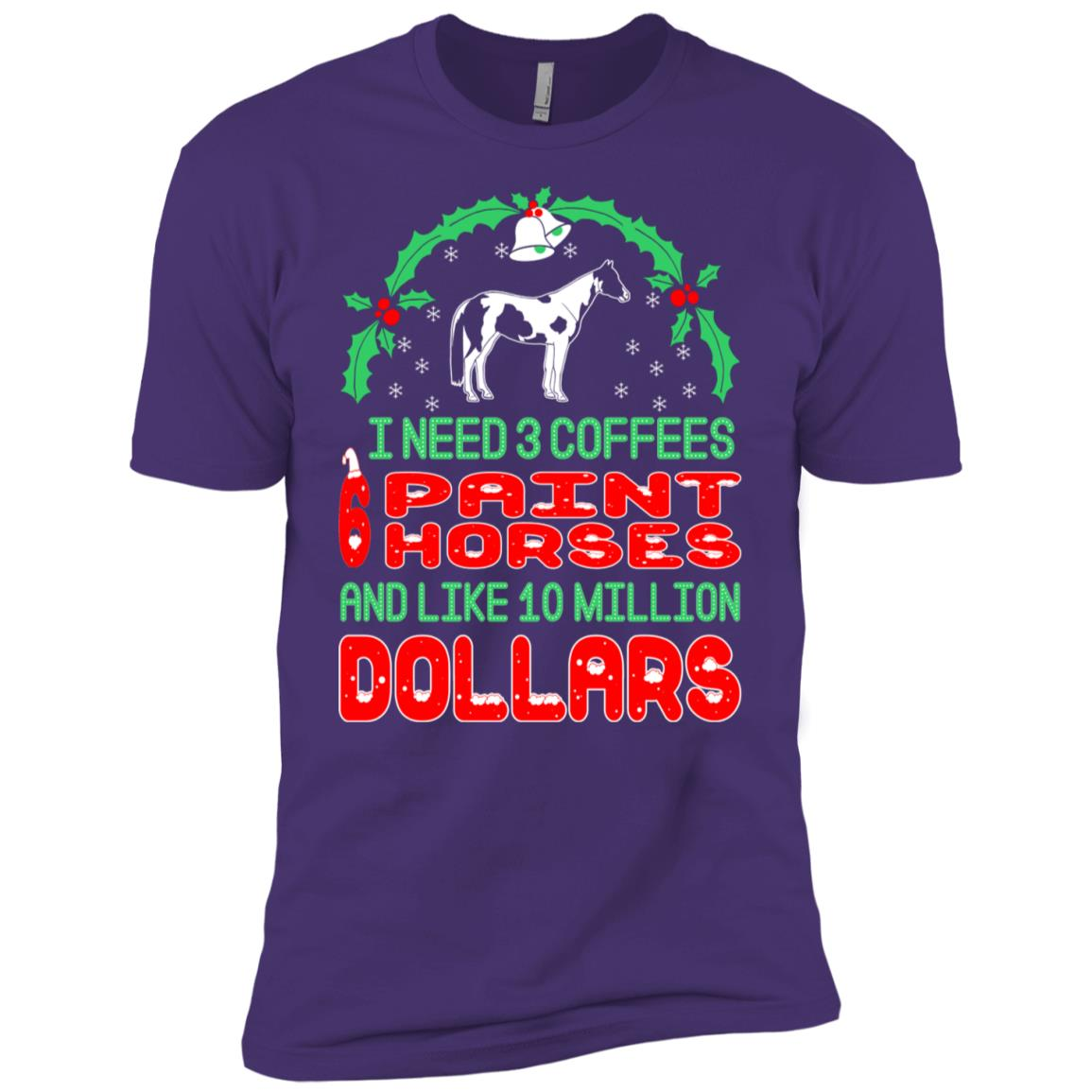 Need 3 Coffees 6 Paint Horses Christmas Ugly Sweater-1 Men Short Sleeve T-Shirt