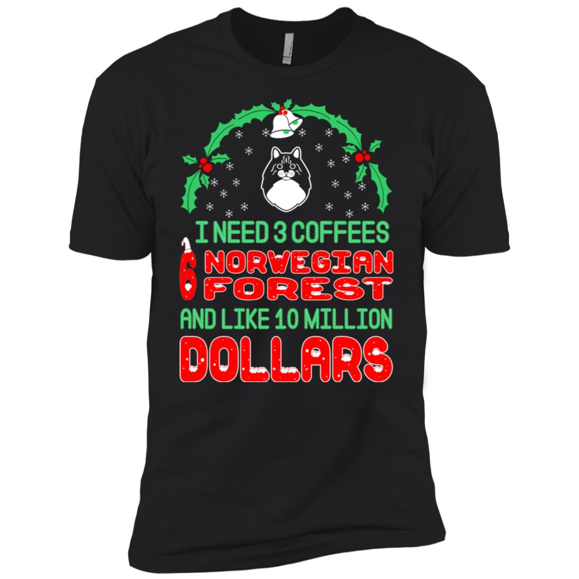 Need 3 Coffees 6 Norwegian Forest Christmas Ugly Sweater Men Short Sleeve T-Shirt
