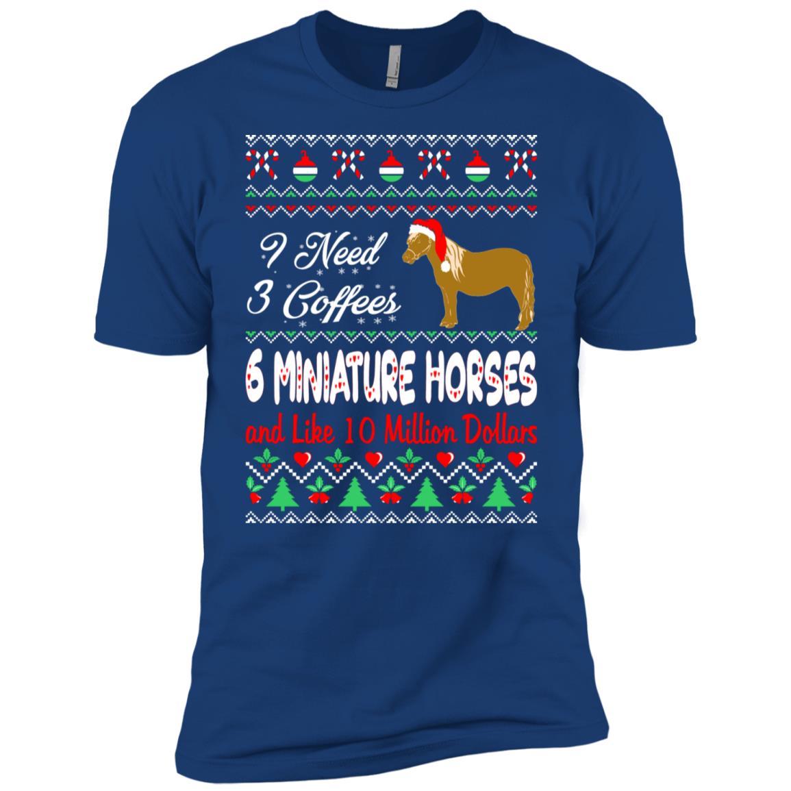 Need 3 Coffees 6 Miniature Horses Christmas Ugly Sweate Men Short Sleeve T-Shirt